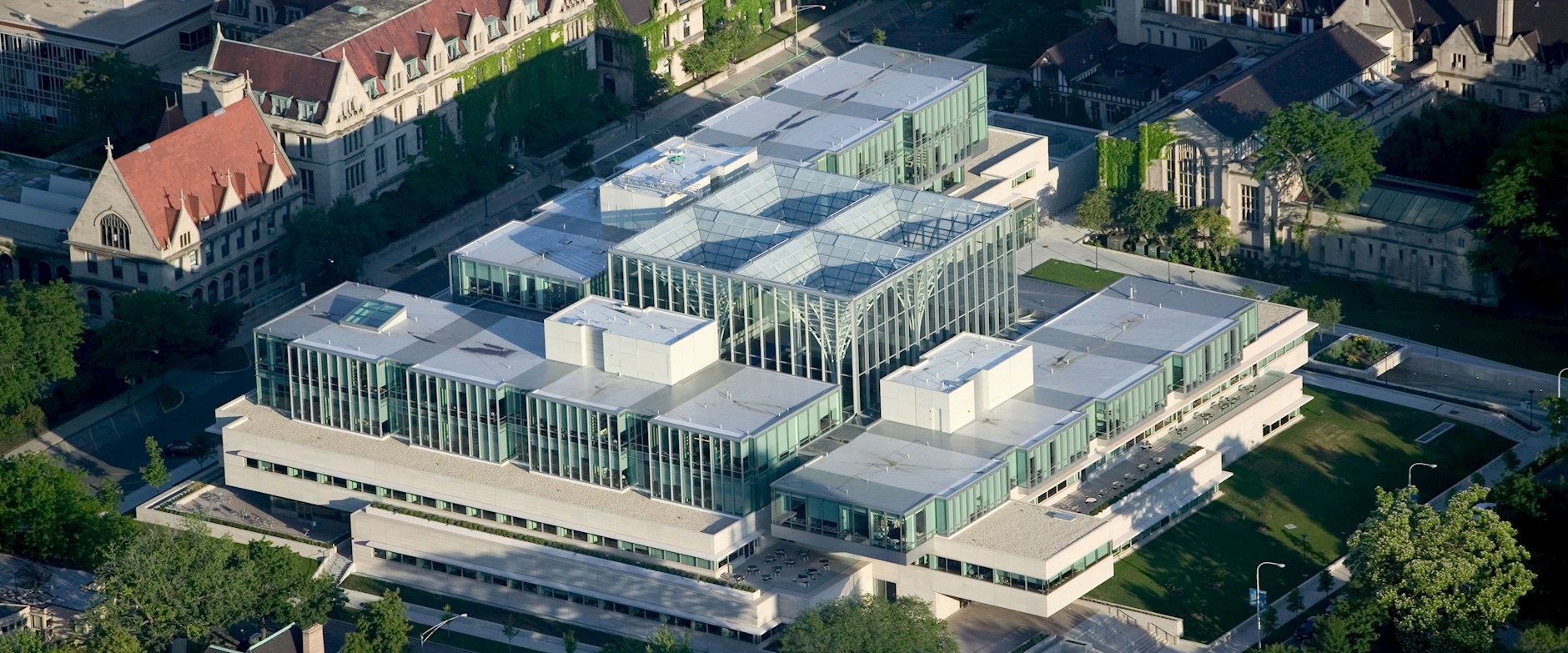 Drone photo of The Harper Center glass ceiling