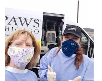 PAWS volunteers with masks and gowns