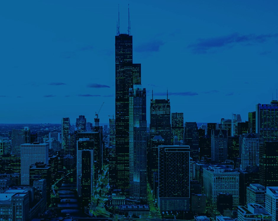 Chicago skyline in blue