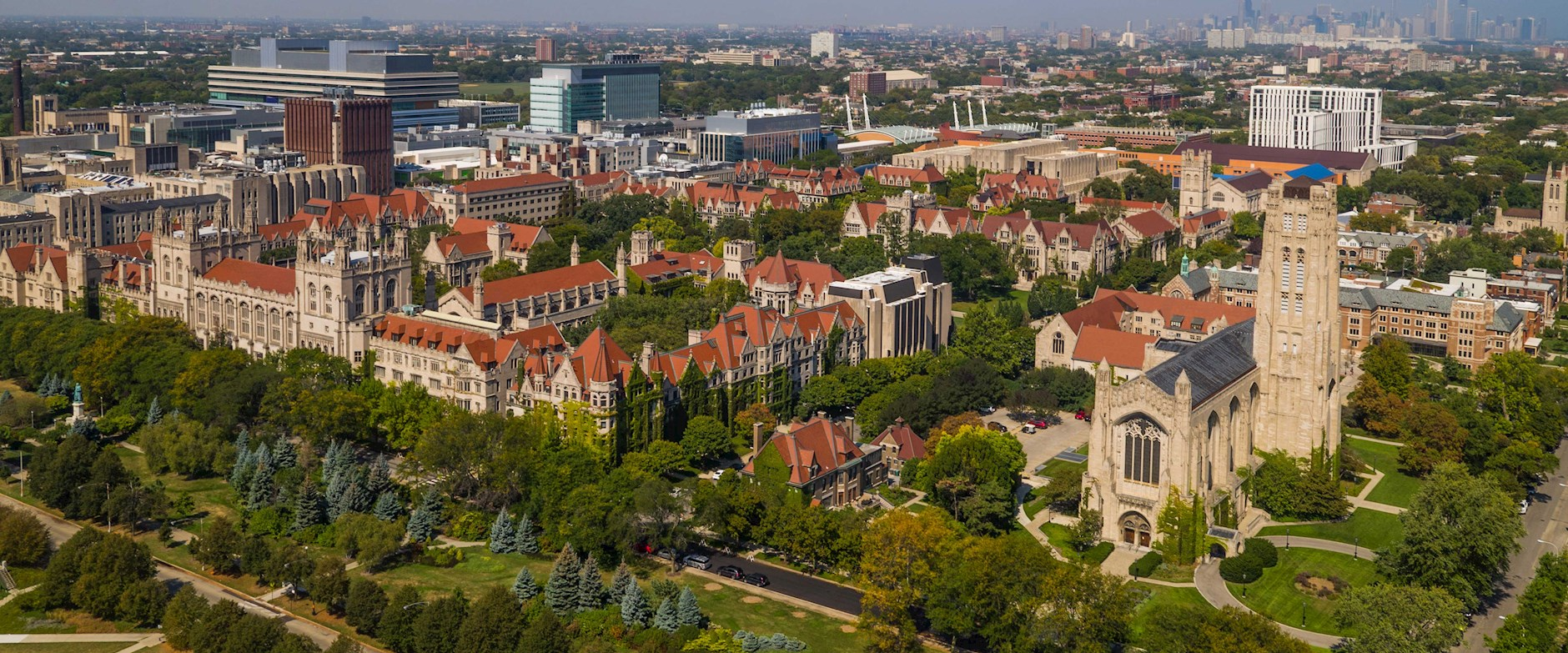 University of Chicago campus drone shot