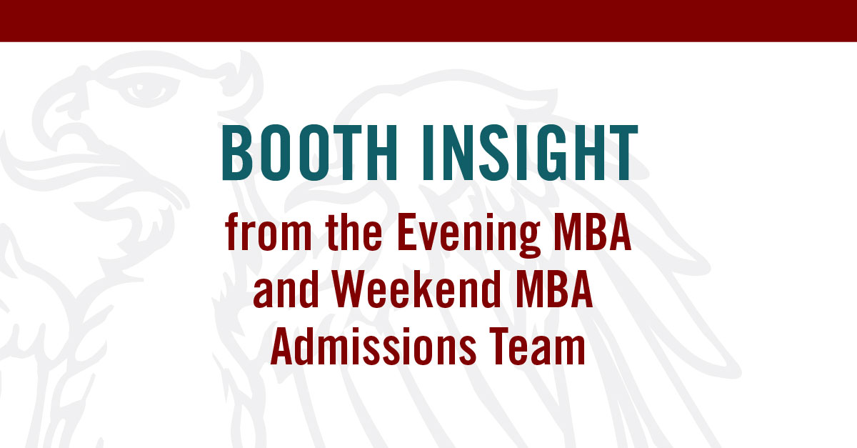 booth weekend mba essays The university of chicago booth school of business's full-time mba program is located on the university of chicago's main campus in the hyde park neighborhood, just seven miles south of chicago's downtown center, the loop.